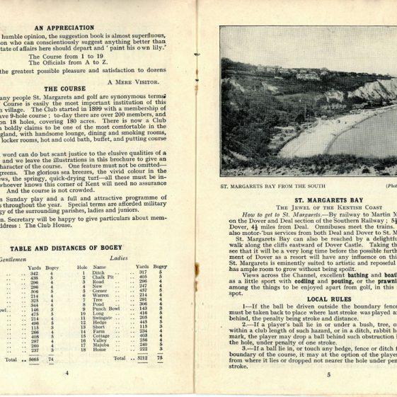 St Margaret's at Cliffe Golf Club Official Handbook. 1933
