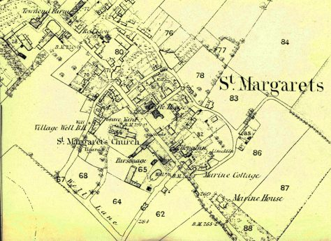 OS Map Centre of St Margaret's at Cliffe.  1862 (1872 revision)