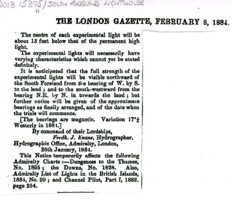Notice to Mariners No 25 about intended experimental lights at South Foreland Lighthouse. The London Gazette February 8 1884