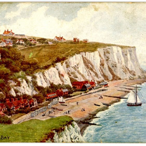 Watercolour of St Margaret's Bay by A R Quinton. Postmark 1913