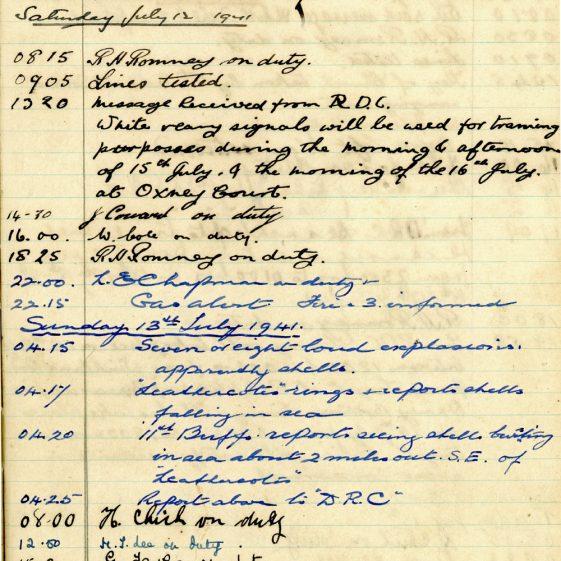 St Margaret's ARP (Air Raid Precautions) Log. Volume 4. 18 February 1941 - 25 September 1941. Pages 108-116