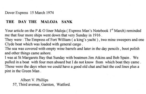 Wreck of the Maloja. 1916