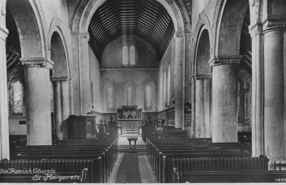Interior of St Margaret's Church facing east.  c1920