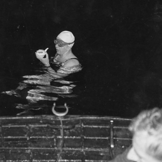 A series of photographs of Brenda Fisher of Grimsby who successfully completed her Channel swim on 21 August 1954
