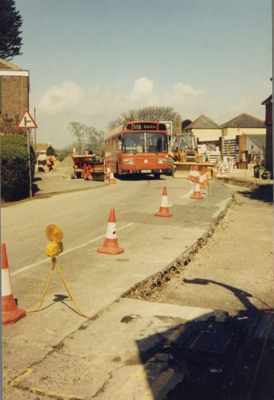 Road works in the High Street  - the last bus through to Bay Hill for 6 weeks. 1986