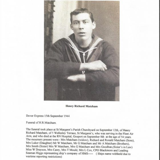 Able Seaman Henry R Matcham. died 1944