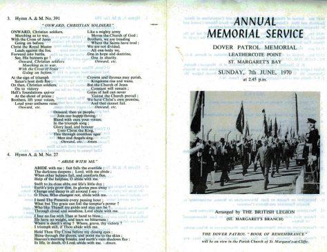49th Dover Patrol Memorial Service. 7 June 1970.