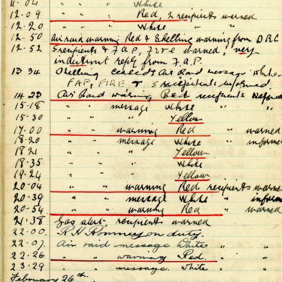 St Margaret's ARP (Air Raid Precautions) Log. Volume 4. 18 February 1941 - 25 September 1941. Pages 1-8