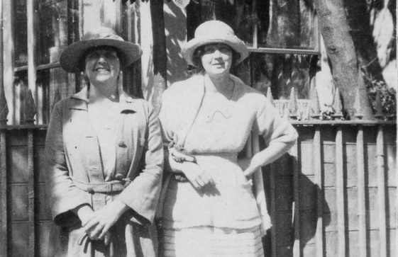 Gordon Denoon's mother and sister, Muriel at Cliffe Hotel. 1920s