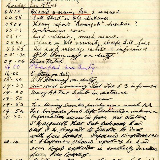 St Margaret's ARP (Air Raid Precautions) Log. Volume 6. 17 July 1942 - 16 February 1943. Pages 115-123