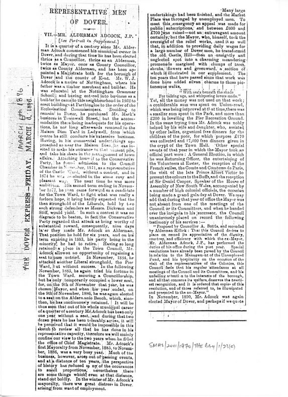 Life and works of William Adcock. Dover Express 1896