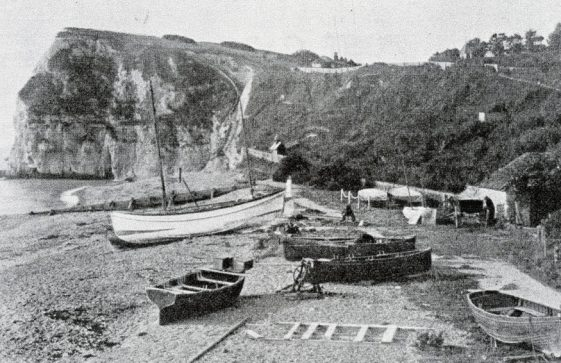 Boats on St Margaret's Bay beach.  undated