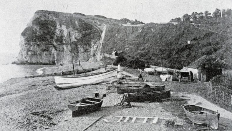 Boats on St Margaret's Bay beach. c1894