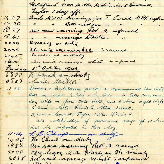 St Margaret's ARP (Air Raid Precautions) Log. Volume 7. 15 February 1943 - 25 October 1943. Pages 129-139