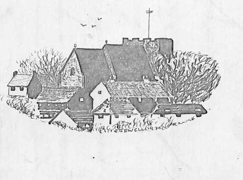 Drawing of St Margaret's Church from the north east by John Jewell, 1970