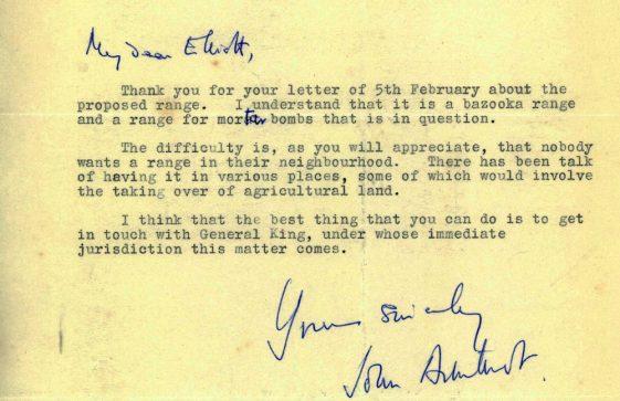 Letter from John Arbuthnot MP re proposed firing range in the village. 1955