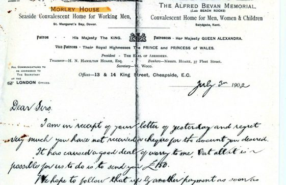 Letter from the Secretary of Morley House re request for payment.  3 July 1902