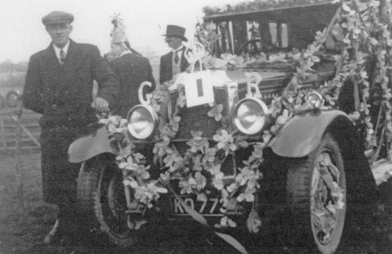Eric Finnis's decorated car for the Coronation celebrations of King George VI.