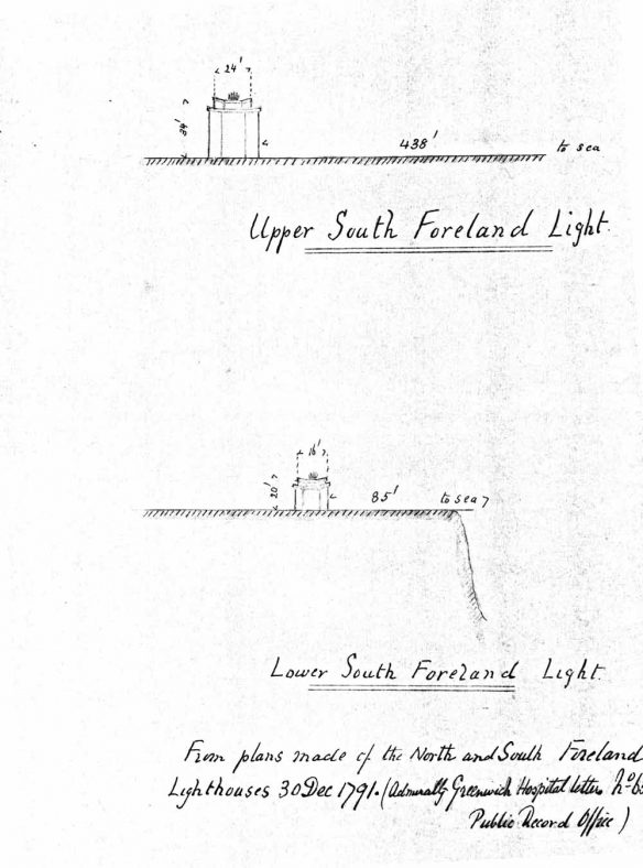 Plans of Upper and Lower South Foreland Lighthouses.  1791