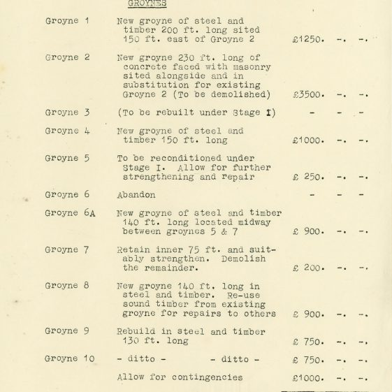 Report on redevelopment of the sea defences at St Margaret's Bay. 1948
