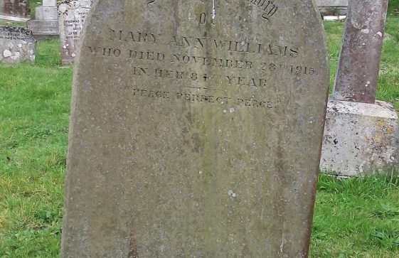 Gravestone of WILLIAMS Mary Ann 1915; WILLIAMS James Mackey 1919