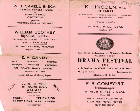 Programme for the WI Drama Festival 1957